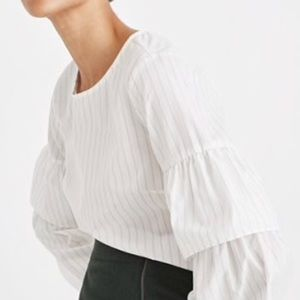 Madewell White Blouse with Ruffled Sleeve
